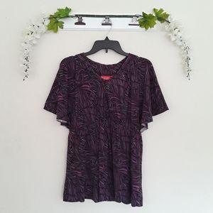 Elle sz:M Flutter Purple Short Sleeve Blouse Top
